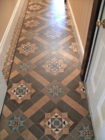 Victorian Tiled Floor Before Cleaning and Sealing