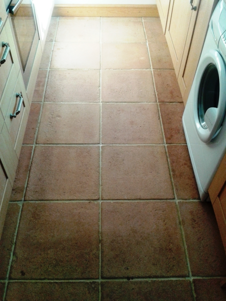 Terracotta Tile Before Cleaning in Shrewsbury