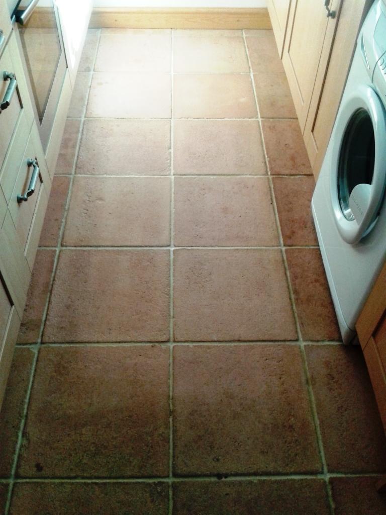Terracotta Tile Before Cleaning in Shrewsbury