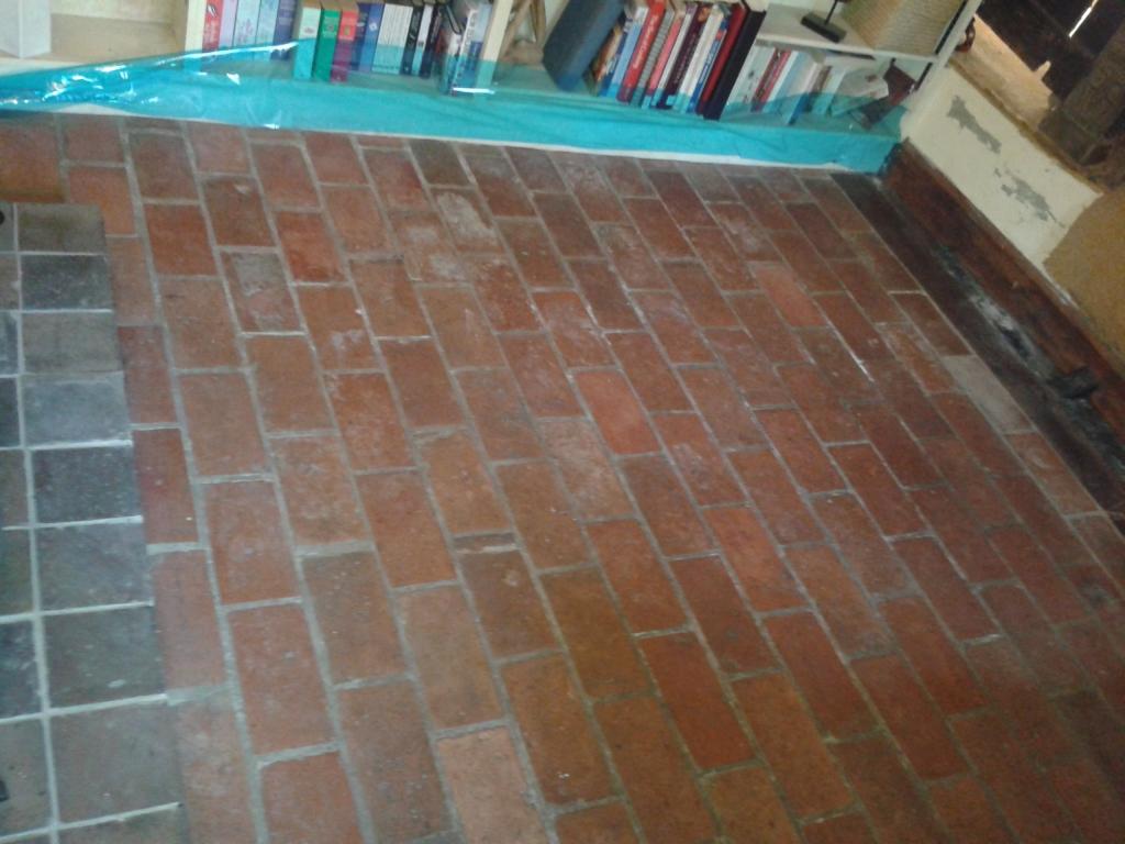 Quarry Tiled Floor Cleaning Alveley Before