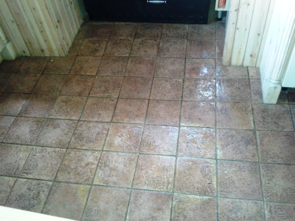Terracotta Tiled Floor Cleaning Alveley Before
