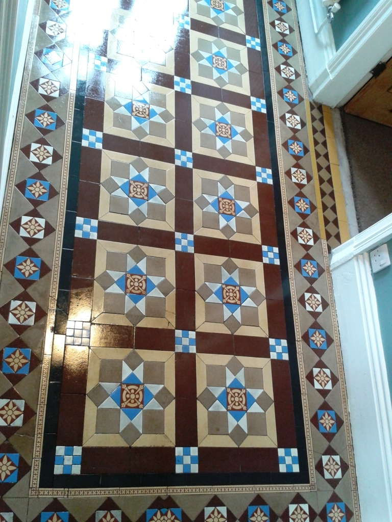 Victorian tiled hallway Whitchurch after sealing