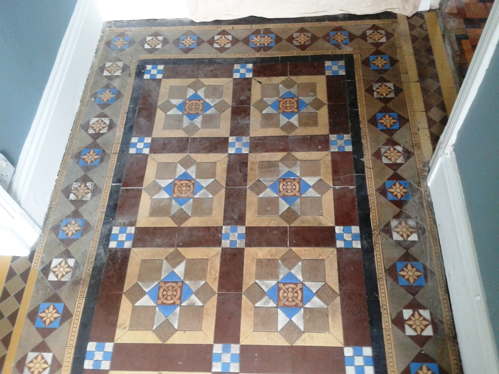 Victorian tiled hallway Whitchurch before cleaning