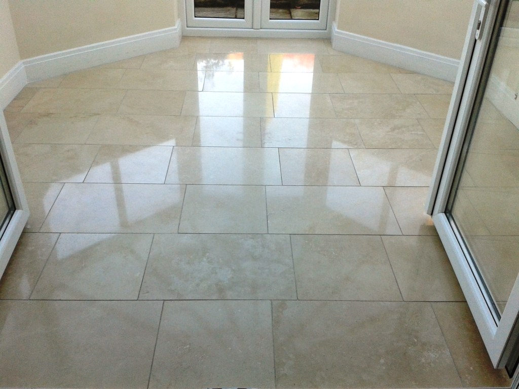 Limestone Floor After Cleaning and Polishing Oswestry