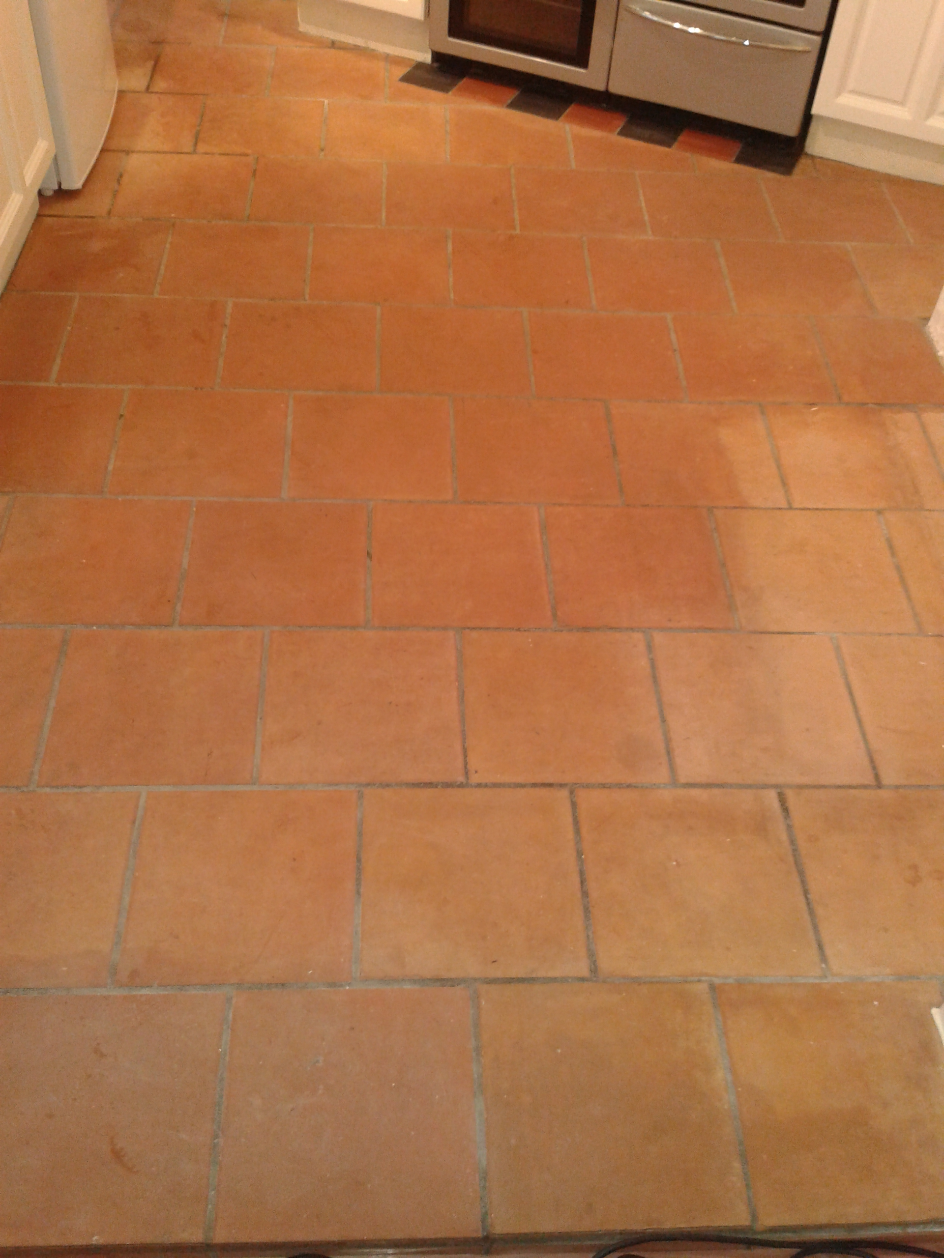 Terracotta Tiled Floor Before Cleaning in Shrewsbury