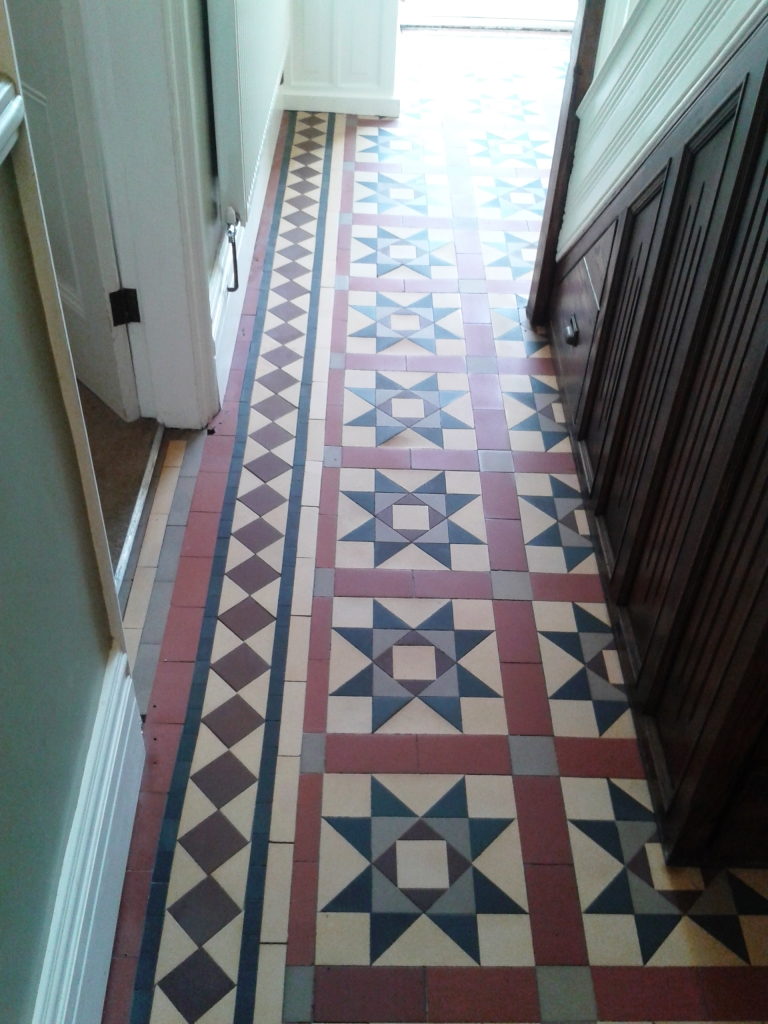 Victorian tiled Hallway after repair and cleaning in Telford