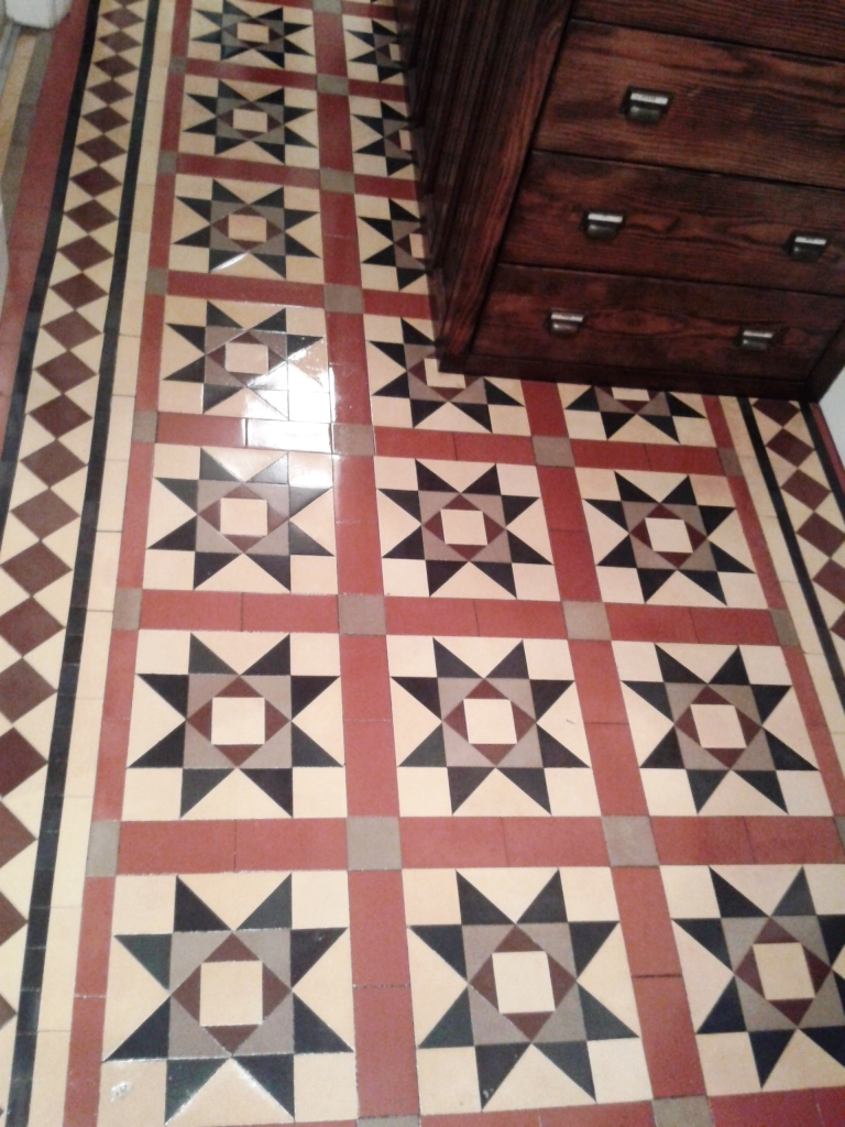 Victorian tiled Hallway after restoration in Telford