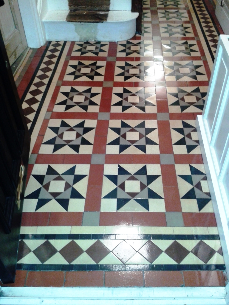 Victorian tiled Hallway after restoration in Telford