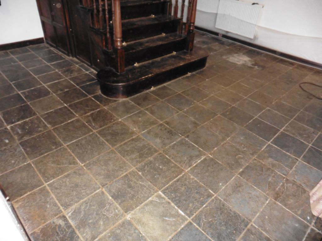 Riven Slate Tiled Floor Ince Before Cleaning