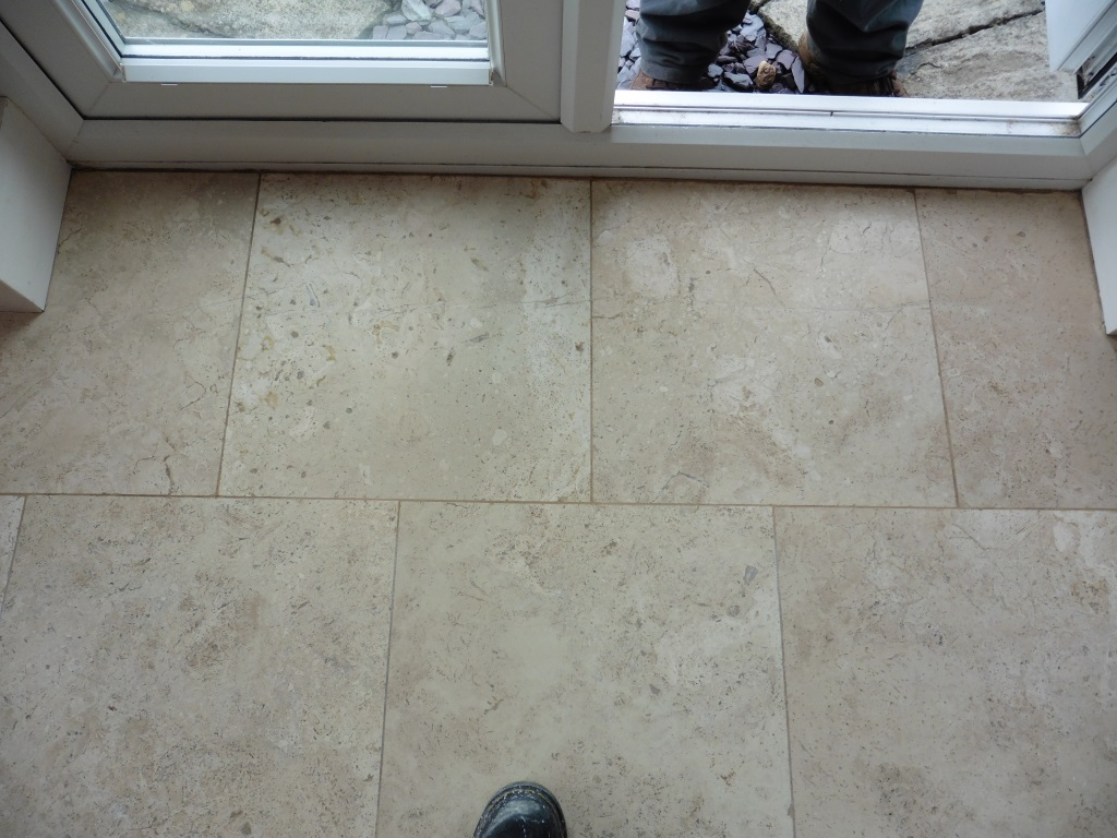 Cracked Travertine Tiles After Repair in Worfield