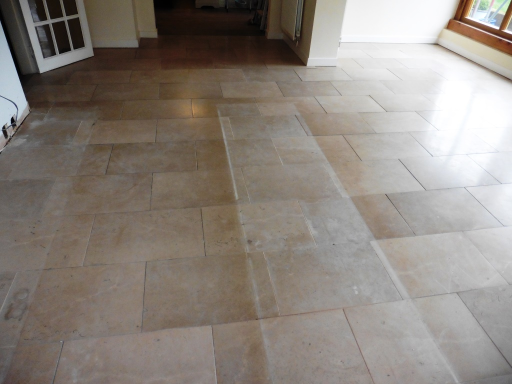 Resolving uneven limestone kitchen floor tiles stone cleaning limestone floor in shrewsbury kitchen before doublecrazyfo Image collections