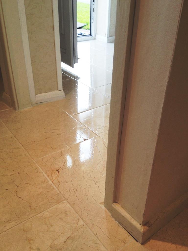 Marble tiled floor after restoration in Albrighton