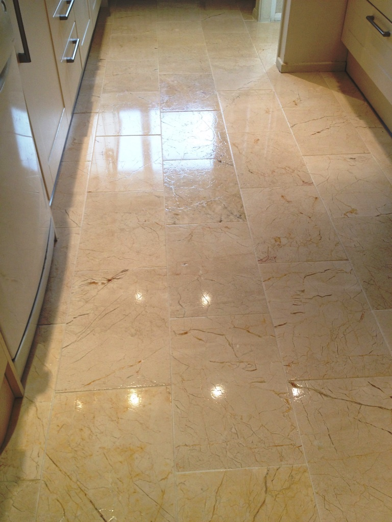Marble tiled floor after restoration in Albrighton