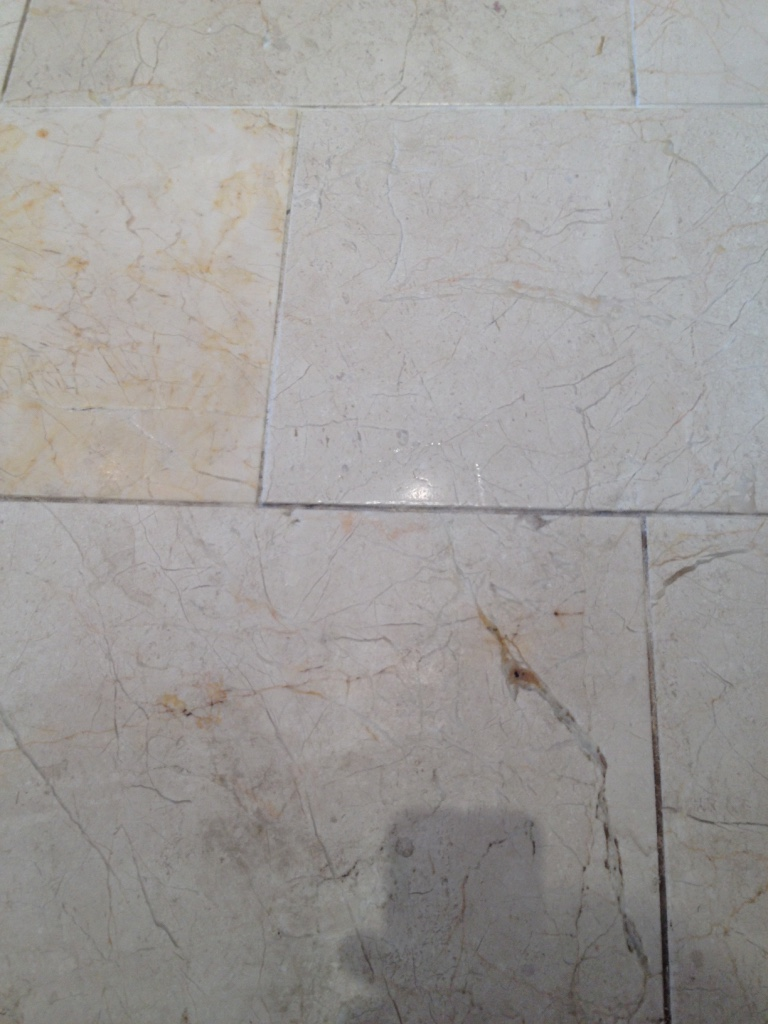 Marble tiled floor before restoration in Albrighton