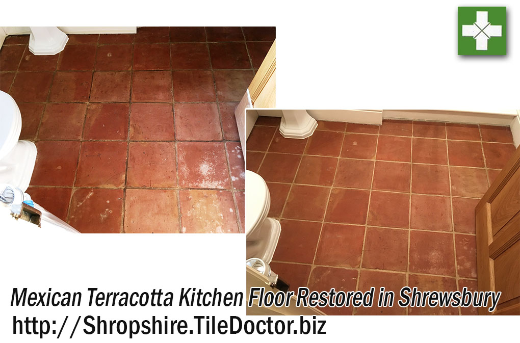 Mexican Terracotta Tiled Kitchen Before and After Cleaning Shrewsbury