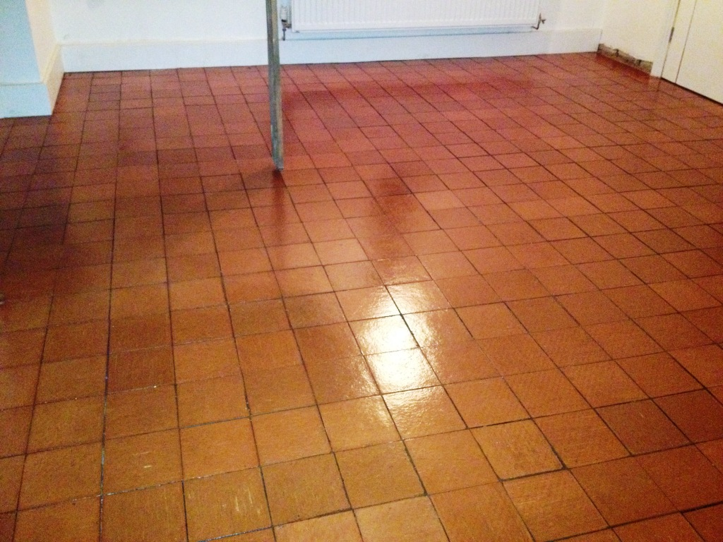 Modern quarry tiled floor in Nesscliffe after cleaning