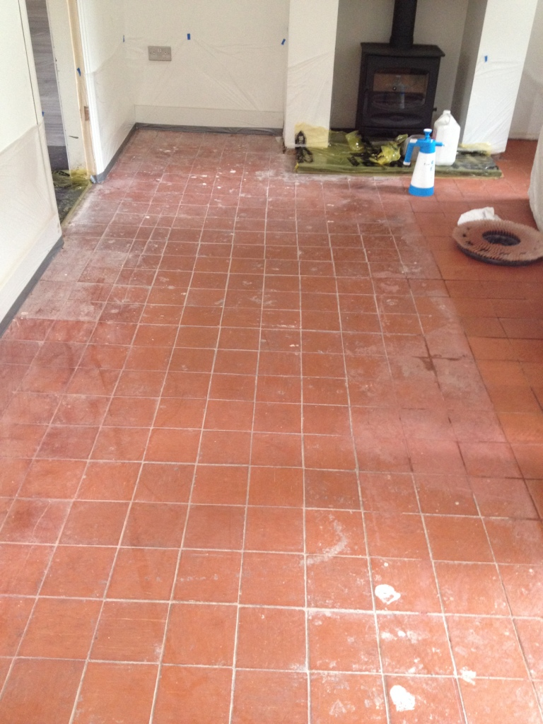 Restoring Quarry Floor Tiles Hidden Under Carpet Quarry Tiled
