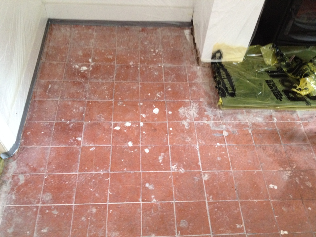 Modern quarry tiled floor in Nesscliffe before cleaning