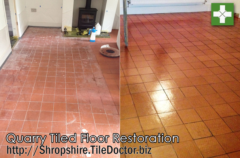 Quarry tiled floor before and after restoration in Nesscliffe