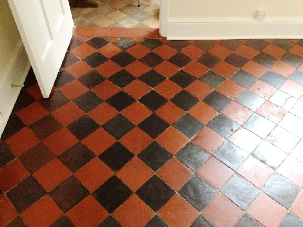 Black and Red Quarry Tiled Dining Room After Sealing in Shrewsbury