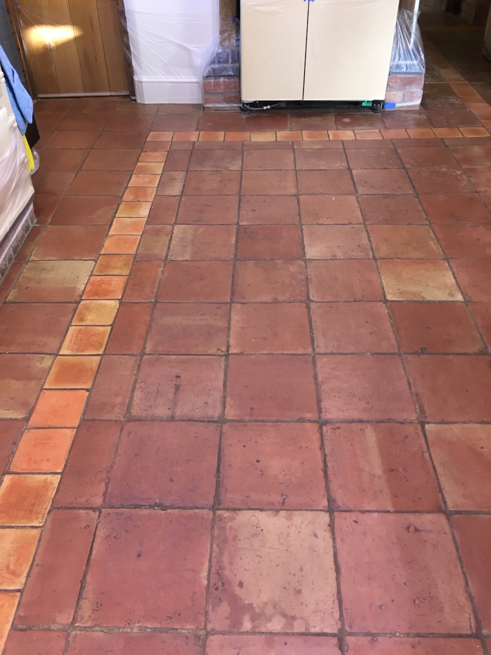 Mexican Terracotta Tiled Floor Before Cleaning Shrewsbury