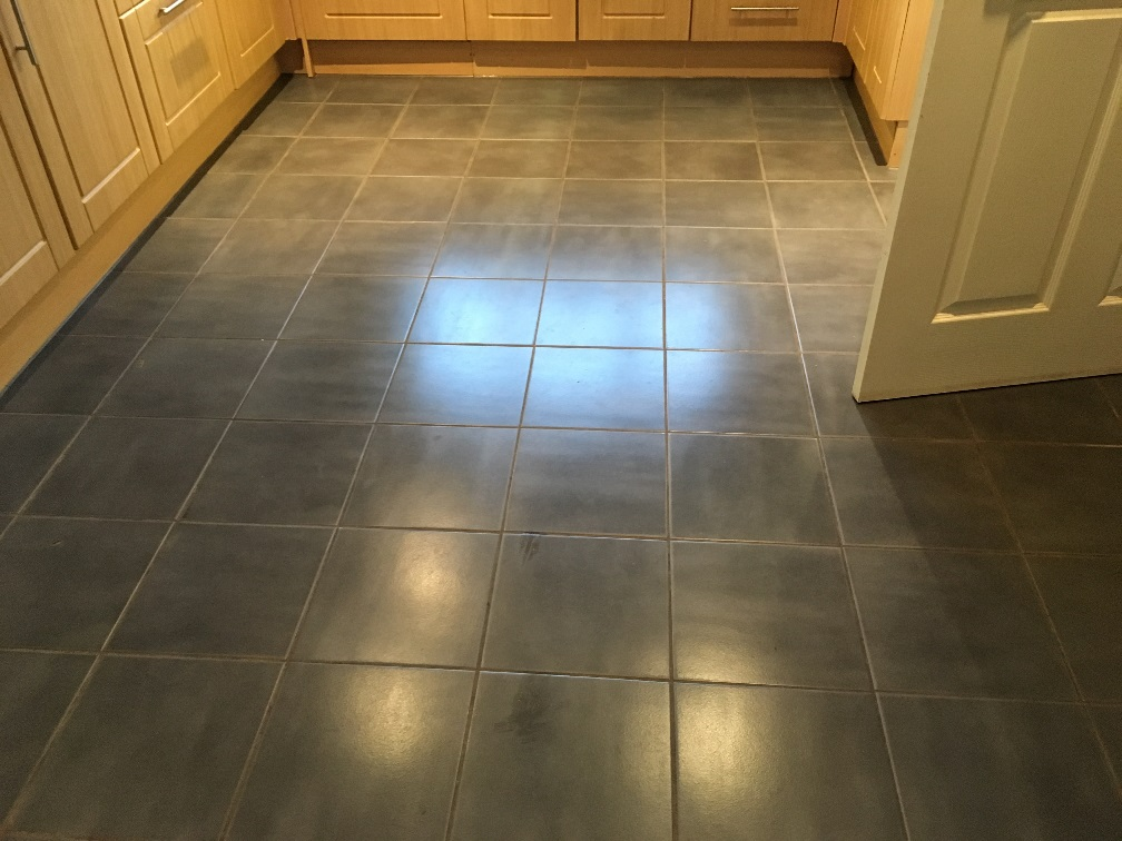 Ceramic Tiled Kitchen Floor Before Grout Cleaning in Childs Ecrall