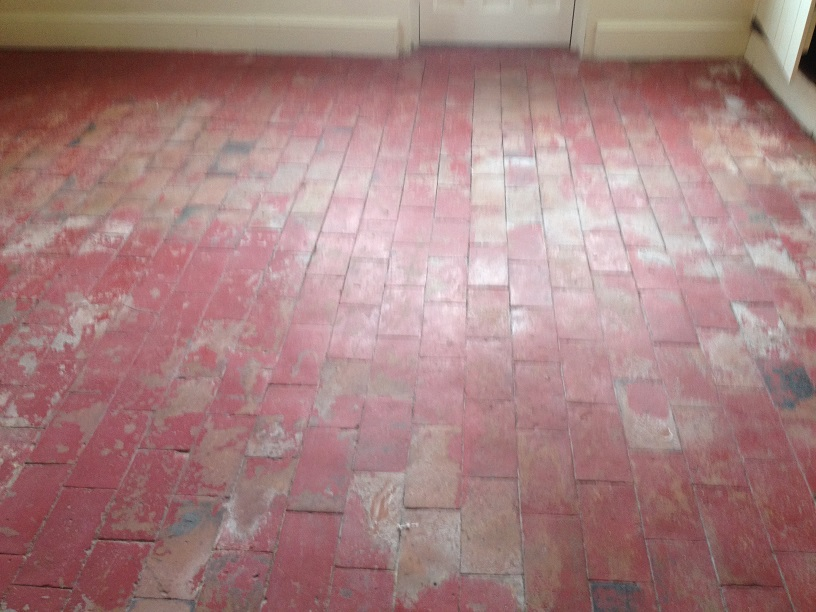 Brick Pattern Quarry Tiled Floor Before Renovation Much Wenlock
