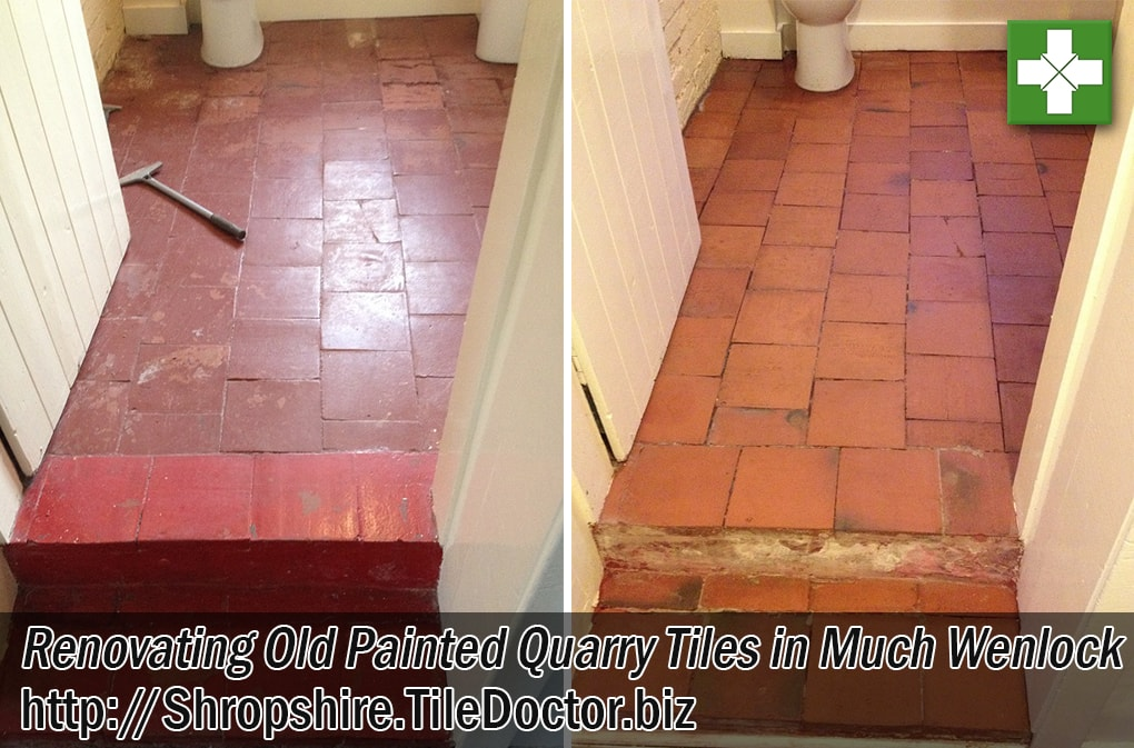 Painted Quarry Tiles Before and After Renovation Much Wenlock