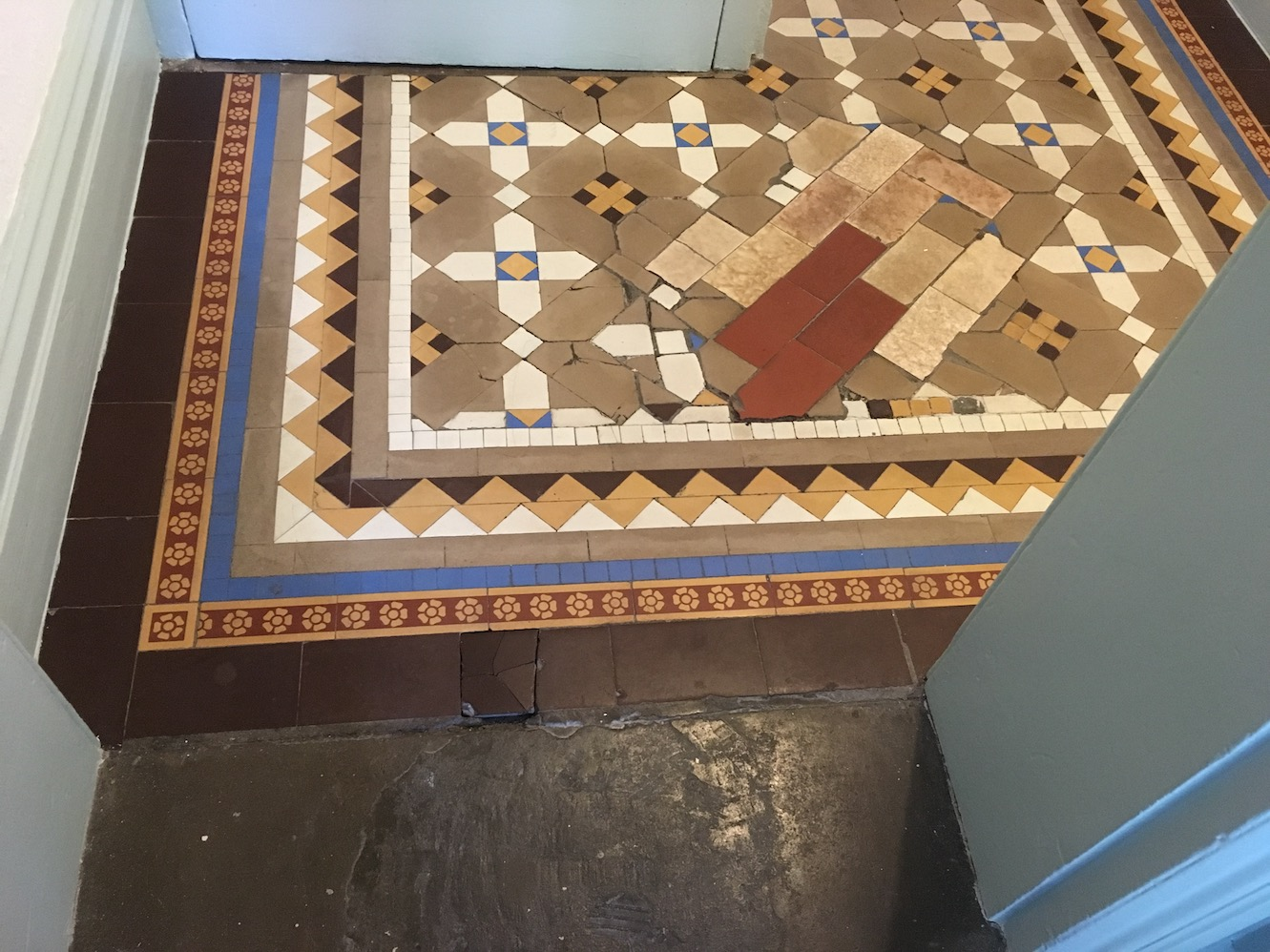 Victorian Tiled Floor Before Cleaning Oswestry