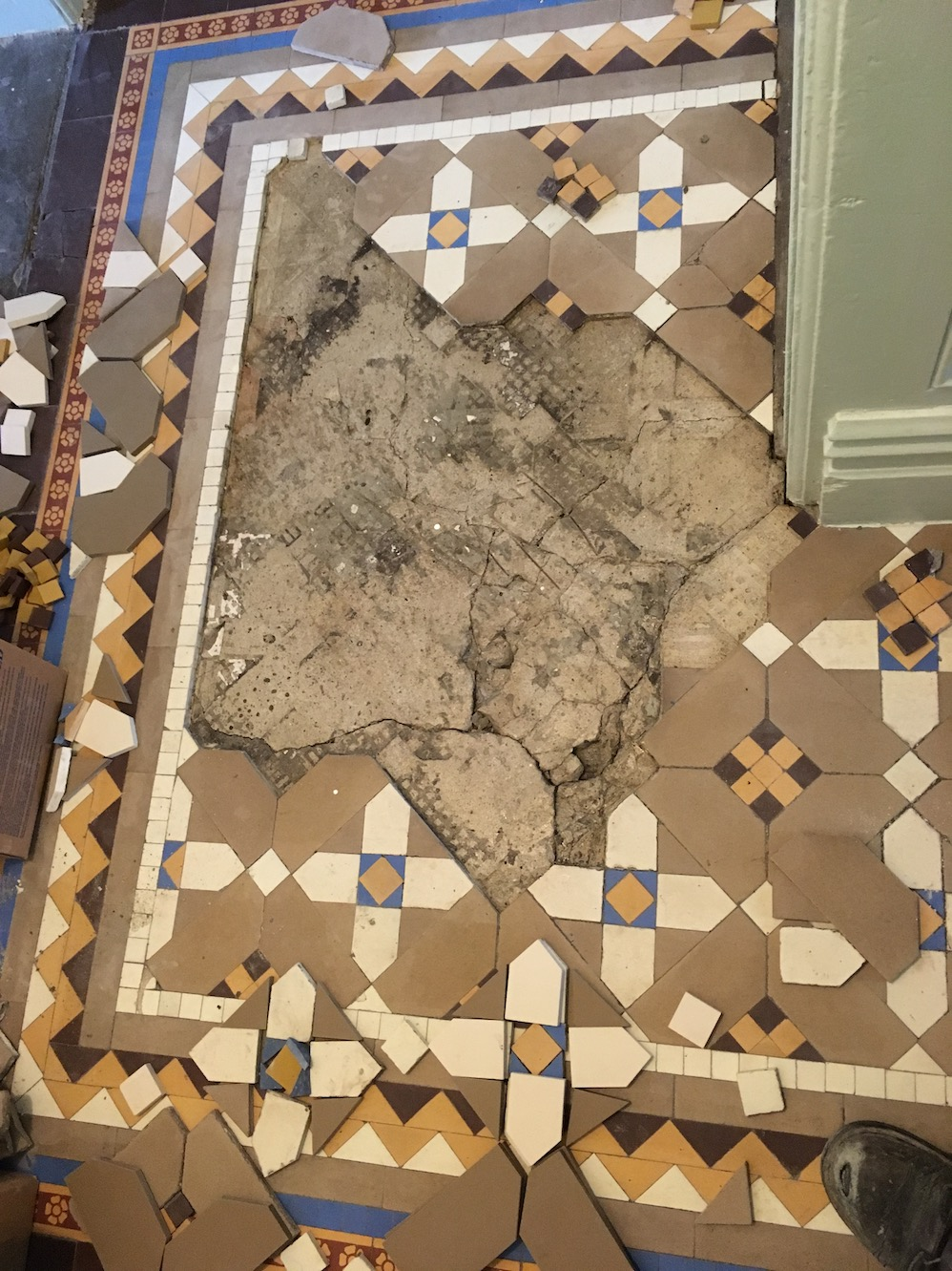 Victorian Tiled Floor During Repair Oswestry