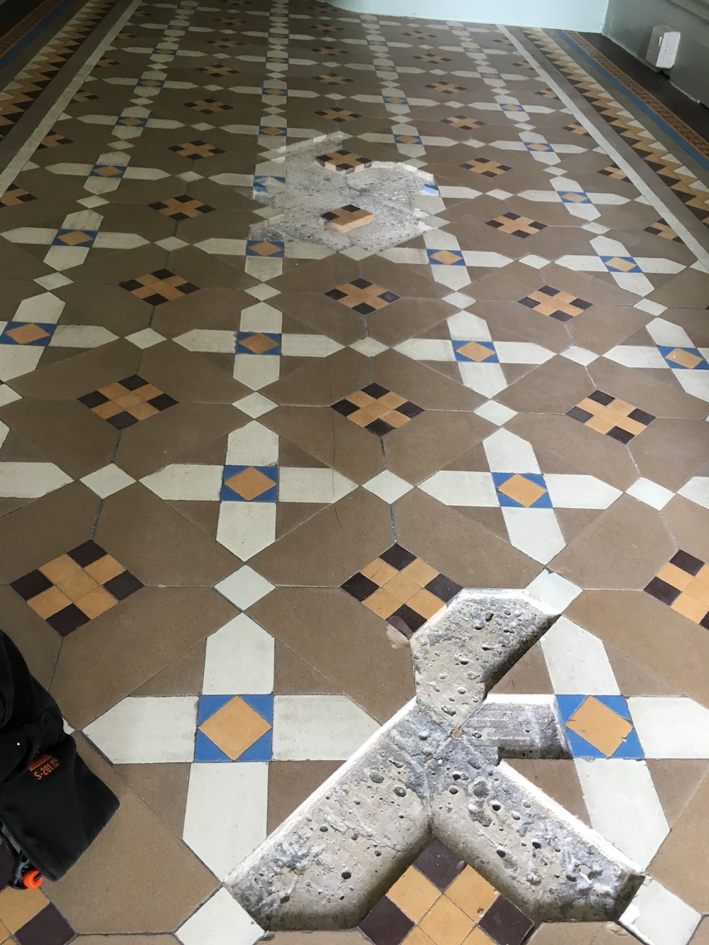 Victorian Tiled Floor During Repair Oswestry