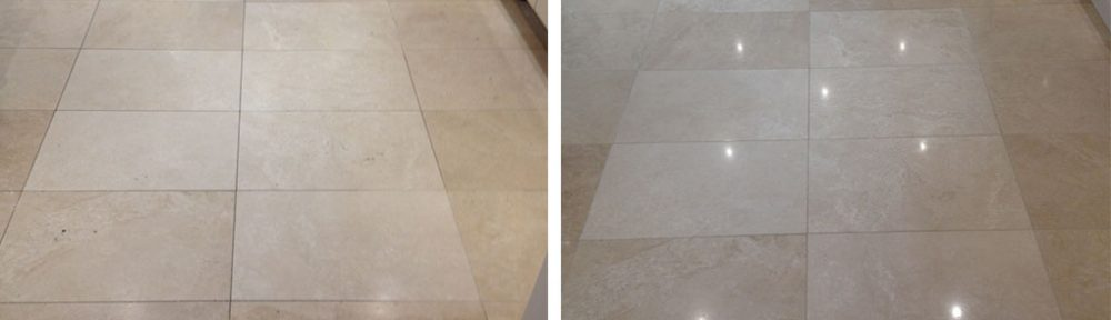 Travertine Tiled Floor Cleaned, Polished and Filled in Priorslee