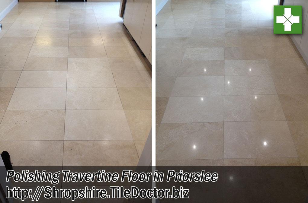 Travertine Floor Before After Polishing Priorslee