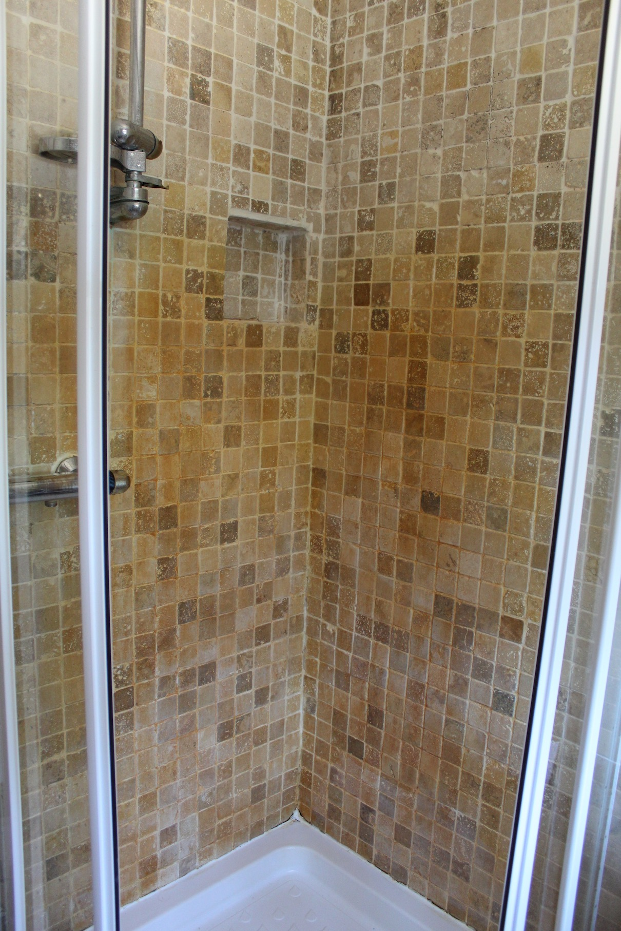 Marble tiled shower before Cleaning Church Preen