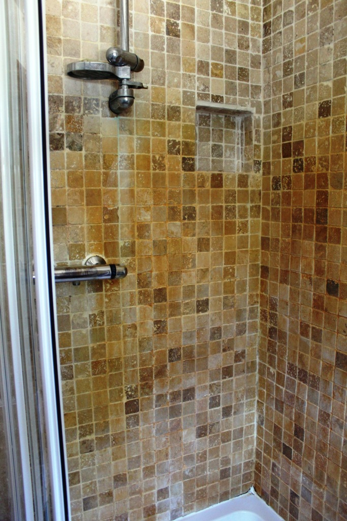 Rust Stained Marble Mosaic Shower Tiles Renovated In Church Preen Shropshire Tile Doctor