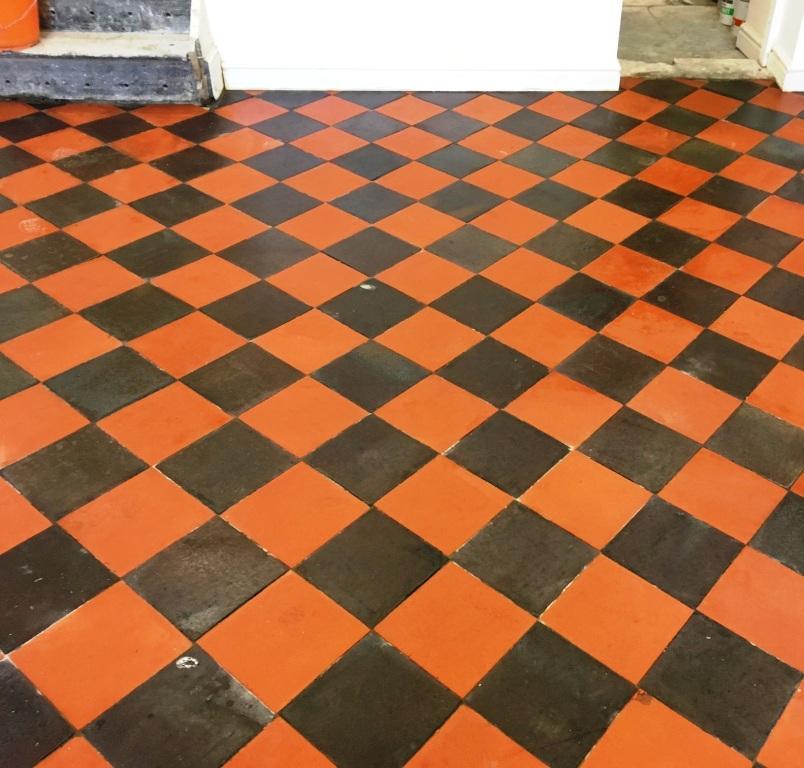 Basement Quarry Tiled Floor After restoration Llangollen
