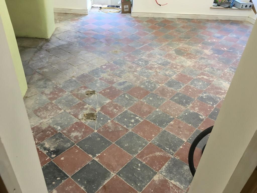 Basement Quarry Tiled Floor Before restoration Llangollen