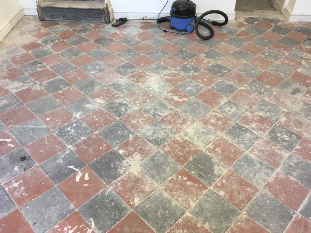 Basement Quarry Tiled Floor Before restoration Llangollen