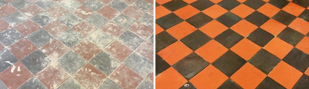 Quarry Tiled Basement Floor Before After Restoration Llangollen