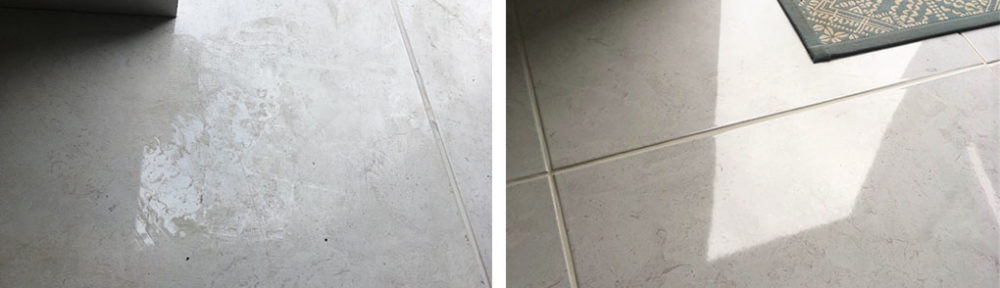 Porcelain Floor Tile Before After Epoxy Grout Haze Removal Telford