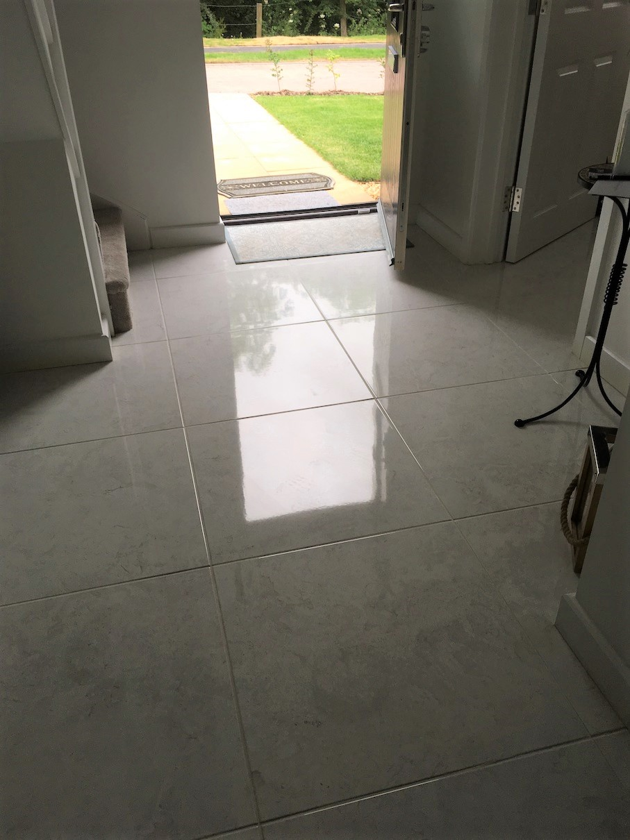 Porcelain Tiled Floor After Epoxy Grout Haze Removal Lawley Village Telford