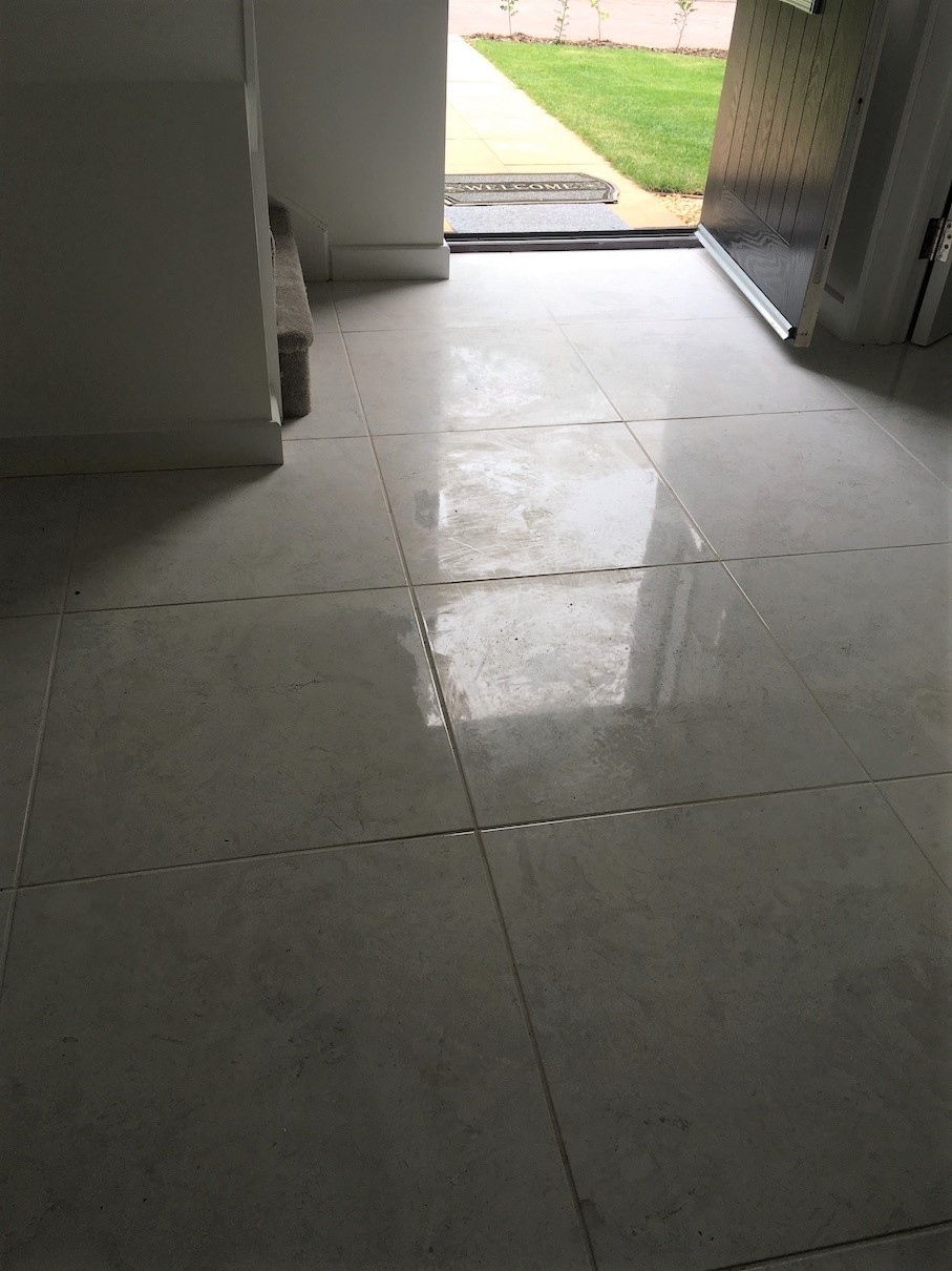 Porcelain Tiled Floor Before Epoxy Grout Haze Removal Lawley Village Telford