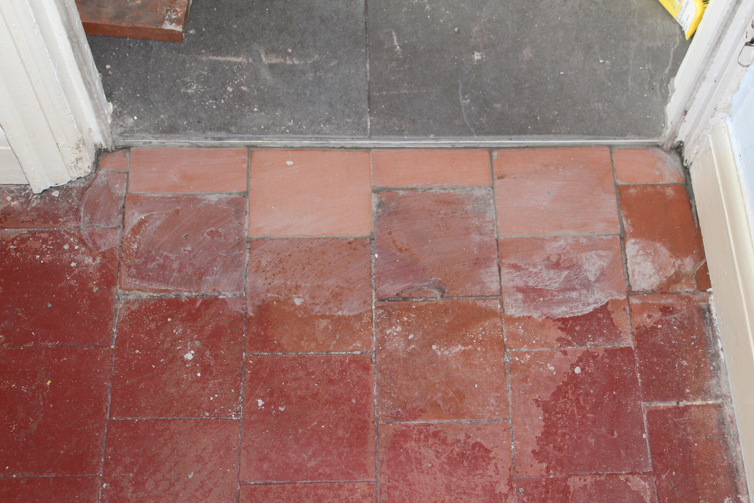 Painted Quarry Tile Floor After Repair Bayston Hill