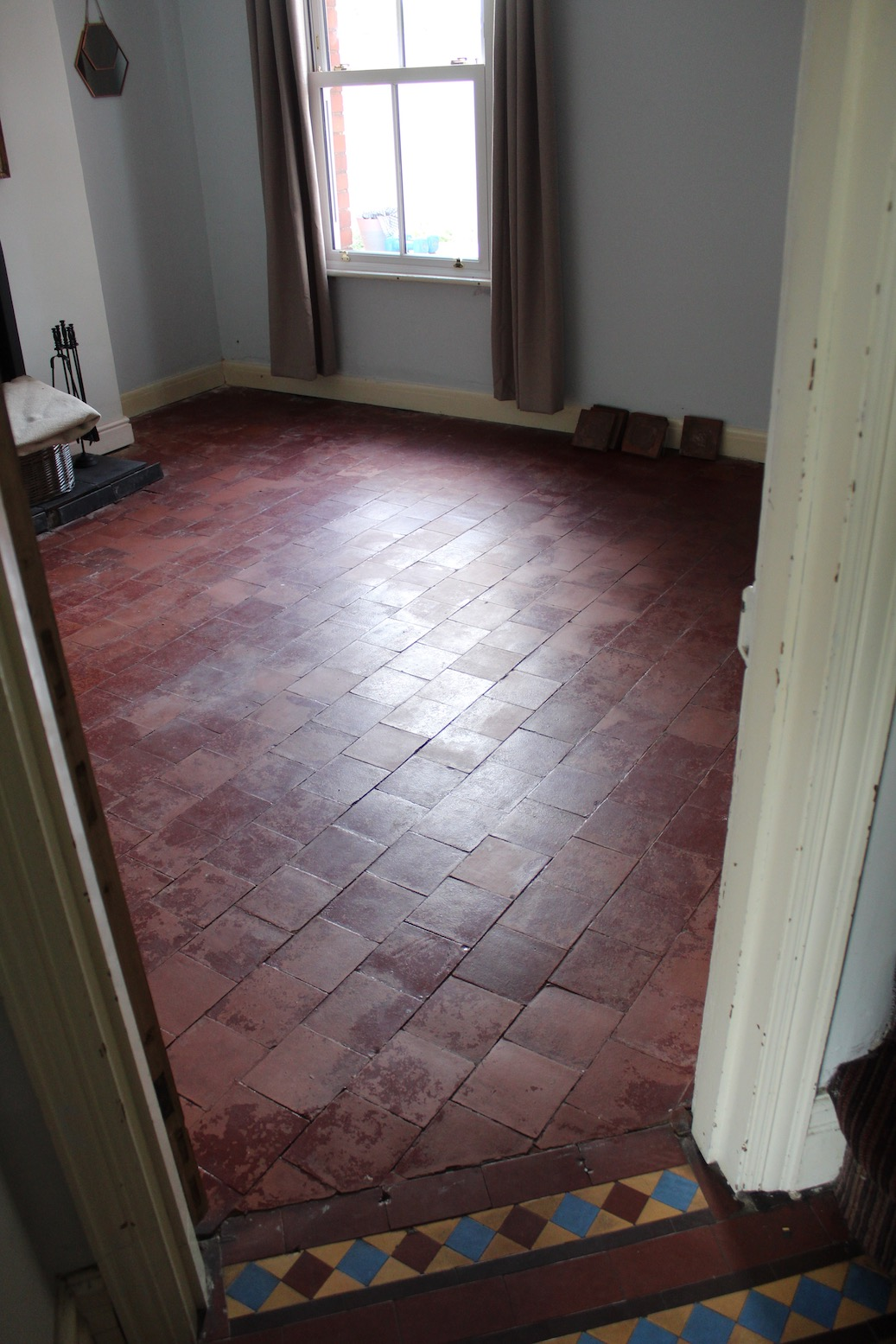 Painted Quarry Tile Floor Before Restoration Bayston Hill
