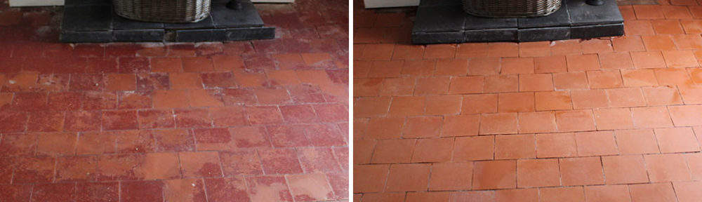 Painted Quarry Tiled Floor Before After Restoration Bayston Hill