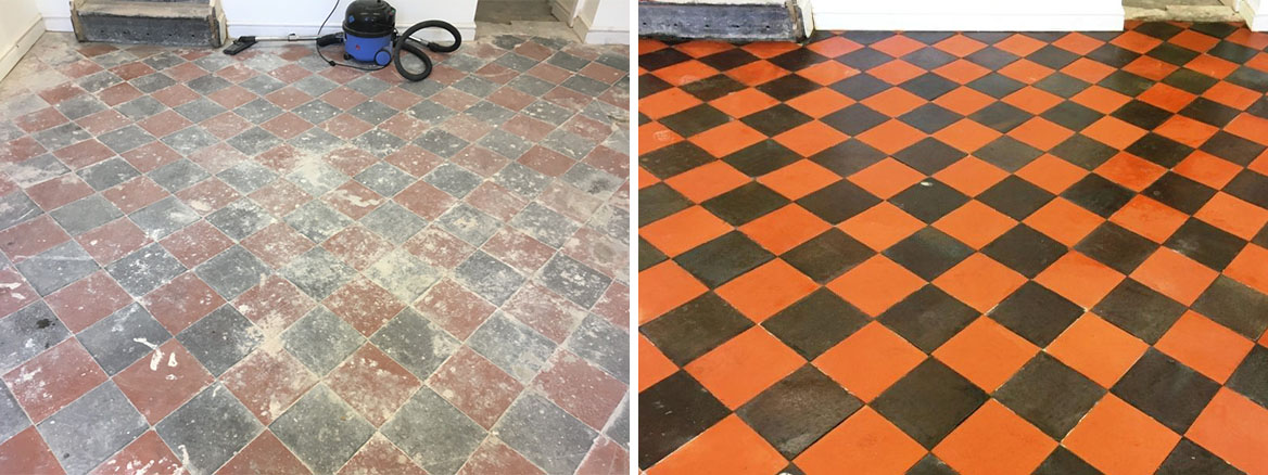 Basement Quarry Tiled Floor Before and After restoration Llangollen