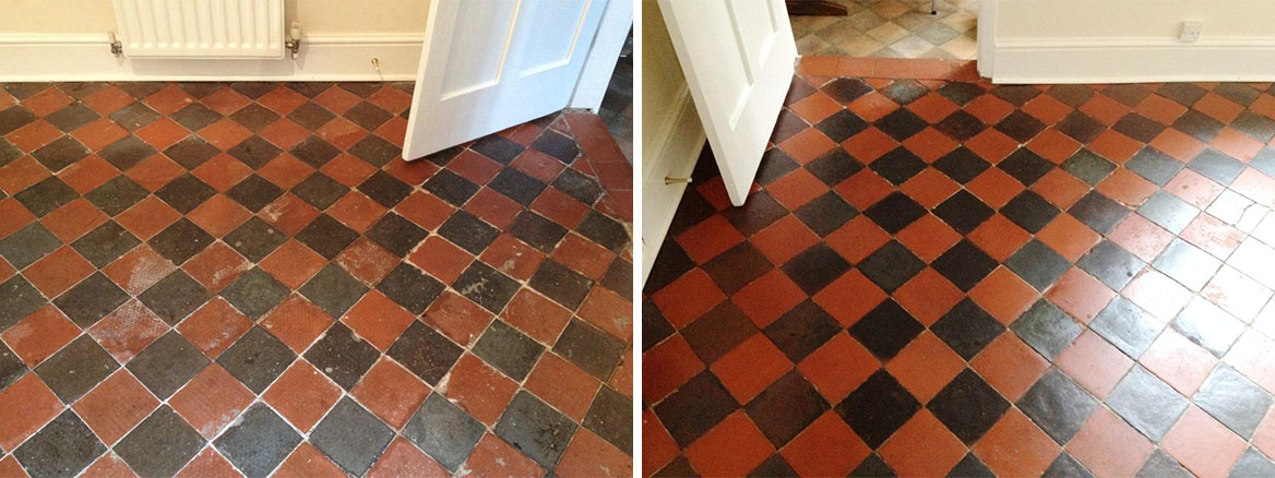 Black and Red Quarry Tiled Dining Room Before and After Sealing in Shrewsbury