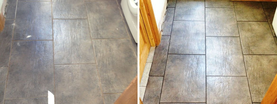 Ceramic Tiled Floor Before and After Cleaning in Mould