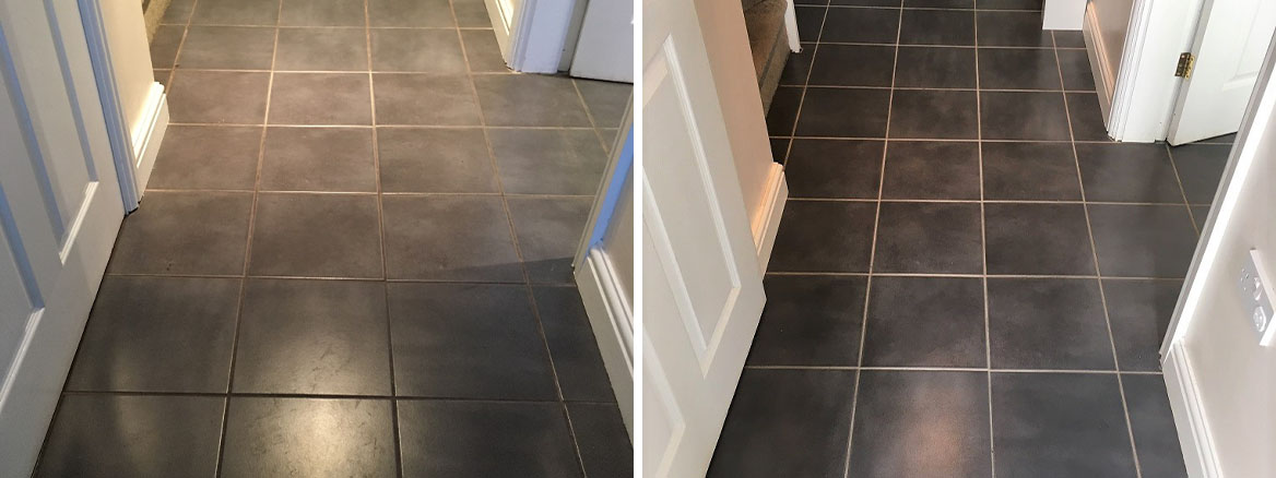 Ceramic Tiled Kitchen Floor Before and After Grout Cleaning in Childs Ecrall