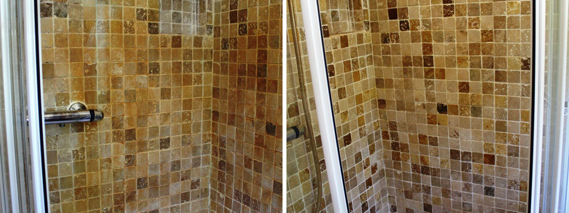 Marble tiled shower Before and After Cleaning Church Preen